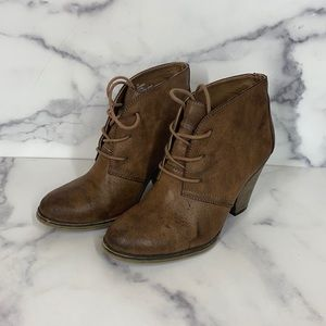 MIA Shauna brown lace up heeled booties size 7